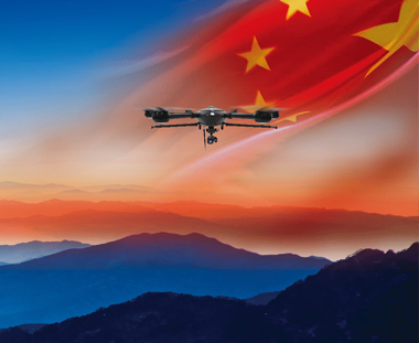 public safety drones JTT UAV flying drone mountain Chinese flag