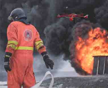 Firefighter fire drone helping JTT UAV firefighting