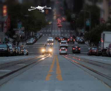 City traffic patrol flying drone JTT