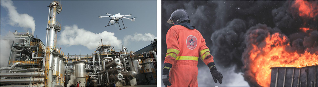 JTT drone gas detector in the fire service with heat sensor