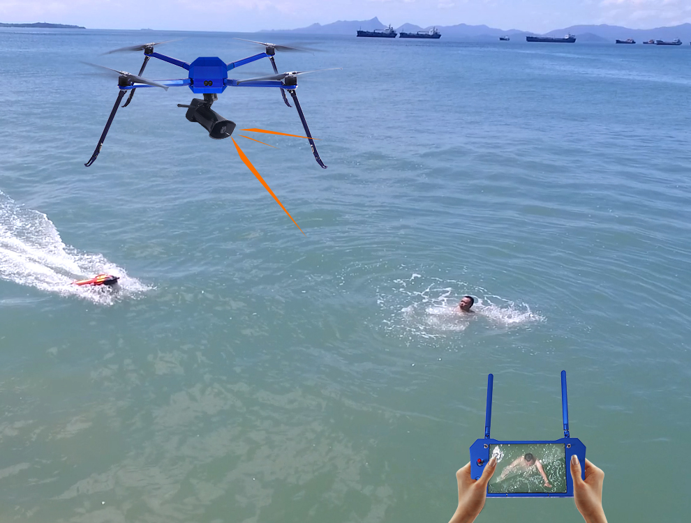 New application on emergency rescue: drone and water rescue robot make air-sea collaboration
