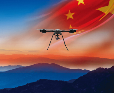 public safety drones flying on air with Chinese flag JTT